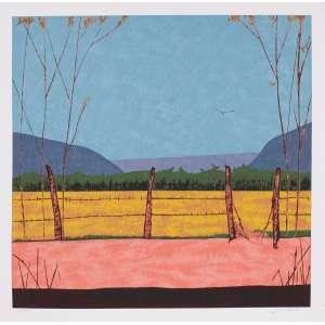 José Paulo Moreira da Fonseca - Paisagem e cerca – 67 x 67 cm – Gravura – Ass. CID – Sem Moldura