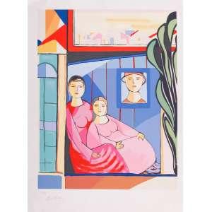 Cícero Dias - Mãe e filha – 76 x 57 cm – Gravura – Ass. CIE – Sem Moldura