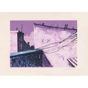 Irlandini - Telhados de Ipanema – 46 x 65 cm – Gravura – Ass. CID e Dat. 1974 – Sem Moldura