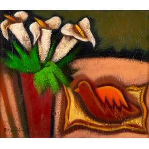 VIRGÍNIA DE PAULA - Copos de Leite e Pato – 60 x 70 cm – TM - Ass. CIE e Dat. 1988