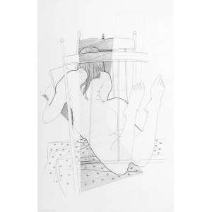 JARBAS JUAREZ - Mulher e Livro – 50 x 32 cm - Bico de Pena - Ass. CID e Dat. 2003