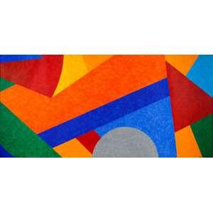 """CLAUDIO TOZZI - Movimento – 95 x 200 cm – ASTCM – Ass. CID e Dat. 2000 """"...Cláudio Tozzi, como Volpi, desconstruiu a fachada arquitetônica, escolhendo alguns detalhes signos para, com eles, reconstruir não mais o edifício figurativo, que desabou, mas a própria arquitetura imagística..."""" Frederico Morais"""