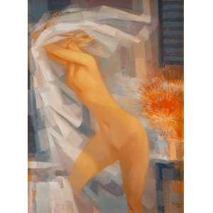 ENRICO BIANCO - Nu com Flores – 60 x 45 cm – OSE – Ass. CID e Dat. 1985