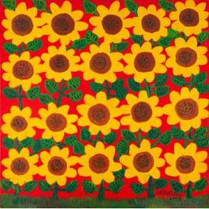 ANTÔNIO POTEIRO - Girassóis – 100 x 100 cm – OST – Ass. CID e Dat. 2001