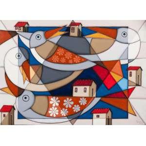 TONY LIMA - Os Cisnes – 50 x 70 cm – OST – Ass. CID e Dat. 2009