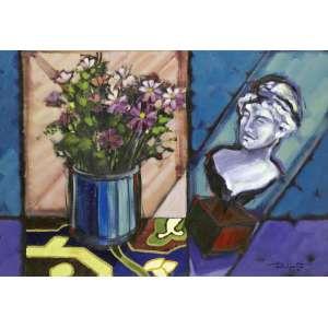 RENÊ NASCIMENTO - Flores e Escultura – 70 x 100 cm – AST – Ass. CID e Dat. 1992