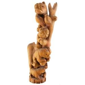 ARTUR PEREIRA - Coluna de Animais - 85 x 39 x 15 cm - Madeira – Ass. Base