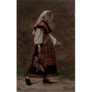 MODESTO BROCOS - Camponesa – 72 x 47 cm – OST – Ass. CID e Dat. 1880