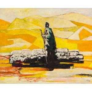 """ENRICO BIANCO - O Pastor e as Ovelhas – 60 x 73 cm – OST – Ass. CID e Dat. 1949 """"Bianco é, antes de qualquer outra coisa, um pintor. Isso não significa apenas um artista, mas um homem habilitado ao trabalho das cores e dos materiais. Não existem, em todo o Brasil, cinco (eu falei cinco) pintores do nível de Bianco. Em quantos pintores nacionais a cor apresenta aquela sutileza, a tela torna-se tão objeto, tão coisa palpável? Ele é senhor de seu instrumento de trabalho. Não há improvisação, não há brincadeira. Coisa rara, estamos diante de um verdadeiro profissional."""" Jacob Klintowitz Trecho extraído do livro """"A Arte de Enrico Bianco, Léo Christiano Editorial, apresentação de Pietro Maria Bardi, 1982"""