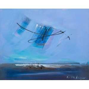 MARIA HELENA ANDRÉS - Composição em Azul – 40 x 50 cm – AST – Ass. CID e Dat. 2001