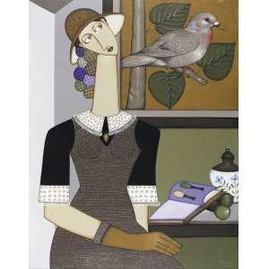 TONY LIMA - Mulher com Pássaro – 90 x 70 cm – OST - Ass. CID e Dat. 2006