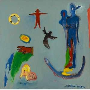 FERNANDO PACHECO - Figuras da Terra, Água e Ar – 150 x 150 cm - OST – Ass. CID e Dat. 1993