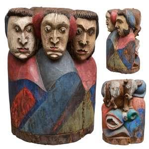 Maurino Araújo - Figuras com Dragão - 47 x 32 x 24 cm - Escultura Policromada - Ass. Verso e Dat. 1979
