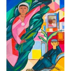 Cícero Dias - Casal – 73 x 60 cm – OST – Ass. CID – Década de 1980 Acompanha documento de autenticidade emitido pelo curador da obra do artista Sr. Waldir Simões Assis Filho