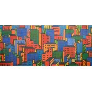 Cláudio Tozzi - Cidade – 88 x 198 cm – ASTCM – Ass. CID e Dat. 1985 - Acompanha certificado de autenticidade emitido pelo artista.
