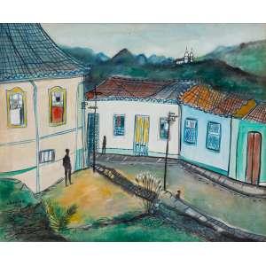 Chanina - Cidade Histórica – 50 x 60 cm – OST – Ass. CIE e Dat. 1963