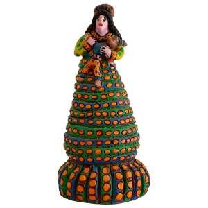 Américo Poteiro - A Mulher e o Palhaço de Reis - 64 cm de Altura - Cerâmica Policromada – Ass. Base e Dat. 2001