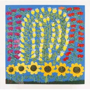 Antonio Poteiro - Flores com girassóis – 85 x 85 cm – Gravura – Ass. CID - Sem Moldura