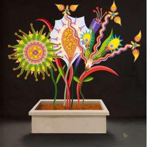 Roberto Magalhães - Flores – 100 x 100 cm – OST – Ass. CID e Dat. 2003