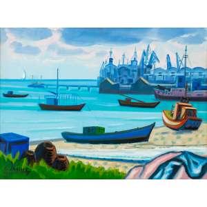 Inimá de Paula - Marinha – Porto Mucuripe – Ceará – 45 x 61 cm – OST – Ass. CIE e Dat. 1990 - Obra reproduzida no Raisonè do artista Vulume I na página 362.
