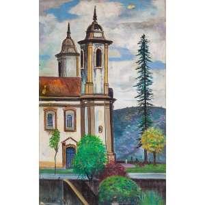 Estevão - Igreja de Ouro Preto com Pessoas – 60 x 38 cm – OST – Ass. CIE
