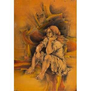 Lúcia Marques - Figura Feminina – 100 x 70 cm – TMSCCE – Ass. LE e Dat. 1978 – Necessita de Restauro.