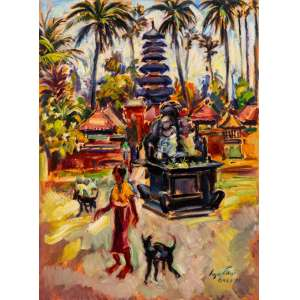 Sergio Telles - Templo em Bali – Indonésia – 73 x 54 cm – OST – Ass. CID e Dat. 1997