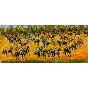 Sergio Telles - A Espera da Largarda, Joqueis e Cavalos na Pista - 70 x 160 cm - OST - Ass. CID e Dat. 2011