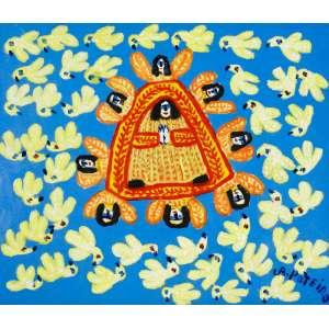 Antônio Poteiro - Nossa Senhora dos Pássaros – 60 x 70 cm – OST – Ass. CID e Dat. 2005 - Está reproduzida no Catálogo da Retrospectiva do Artista em 2017 - Apresenta Certificado de Autenticidade do Instituto Antônio Poteiro