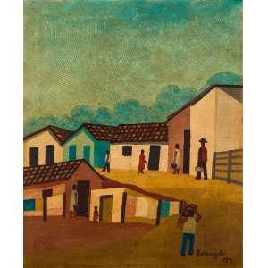 Lorenzato - Casario com Pessoas – 49,5 x 40,5 cm – Óleo sobre Eucatex sobre Cartão – Ass. CID e Dat. 1974