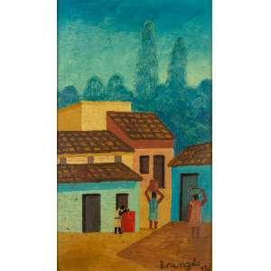 Lorenzato - Lavadeiras, Casarios e Florestas – 41,5 x 25,5 cm – Óleo Sobre Eucatex – Ass. CID e Dat. 1976