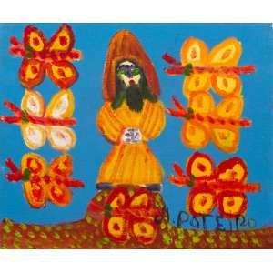 Antônio Poteiro - São Francisco e as Borboletas – 25 x 30 cm – Óleo sobre Tela – Ass. CID e Dat. 2008