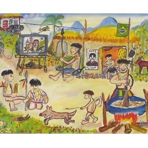Marcel - Vida Atual dos Índios - 40 x 50 cm - Óleo sobre Tela - Ass. CID e Dat. 2002