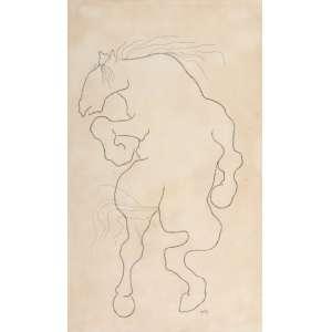 Jarbas Juarez - Cavalo – 50 x 30 cm – Desenho – Ass. CID e Dat. 1964