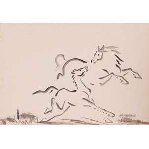 Takaoka - Cavalos – 33 x 48 cm – Aguada – Ass. CID e Dat. 1966