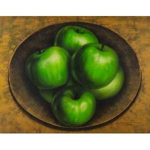 Carlos Passos - Maçãs Verdes – 110 x 140 cm – Óleo e Colagem de Eucatex sobre Eucatex – Ass. CID e Dat. 1997