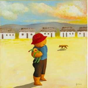 Ricardo Ferrari - Criança com Palhacinho – 40 x 40 cm - Óleo sobre Tela – Ass. CID e Dat. 2008