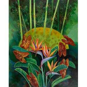 Yara Tupynambá - Jardim com Bico de Papagaio – 100 x 80 cm – Acrílica sobre Tela – Ass. CID e Dat. 2020