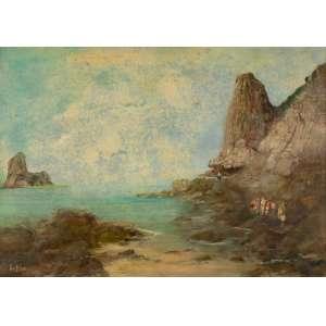 Ivo Blasi - Paisagem do Arquipélago de Fernando de Noronha – 49,5 x 70,5 cm – Óleo sobre Tela – Ass. CIE