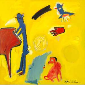 Fernando Pacheco - O Quarto do Pianista – 150 x 150 cm - Óleo sobre Tela– Ass. CID e Dat. 1992