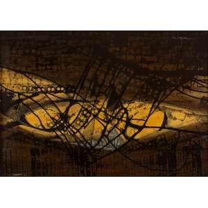 Farnese de Andrade - Abstração - 50 x 70 cm - Acrílica e Nanquim Encerados sobre Cartão sobre Eucatex - Ass. CIE e Dat. 1964