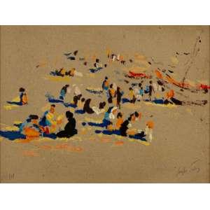 Sergio Telles - Domingo de Sol na Póvoa do Varzim, Portugal, Anos 1970 - 24 x 32 cm – Técnica Mista-Serigrafia – Ass. CID