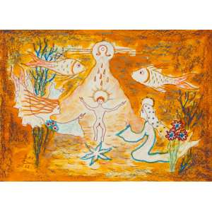 Bax - Nascimento de Jesus - 22 x 31 cm – Técnica Mista – Ass. CIE e Dat. 1983