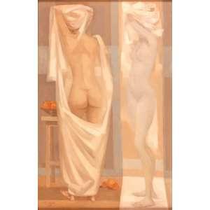 Enrico Bianco - Nu no Espelho – 70 x 45 cm – Óleo sobre Eucatex – Ass. CIE e Dat. 1989
