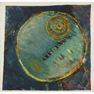 Artur Barrio - Abstração – 66,5 x 69,5 cm – Acrílica e Colagem sobre Tela – Ass. CSD e Dat. 1986