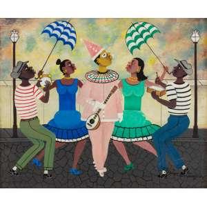 Heitor dos Prazeres - Roda de Samba - 60 x 73 cm - Óleo sobre Tela - Ass. CIE e Dat. 1963