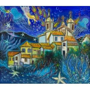 Bax - Ouro Preto – 60 x 70 cm – Óleo sobre Tela sobre Eucatex – Ass. CIE e Dat. 1975