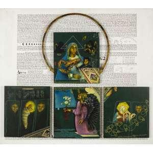 Miguel Gontijo - Milagre sob a batina de Giotto – Políptico - 82 x 92 cm – Acrílica sobre MDF – Ass. CID e Dat. 2000