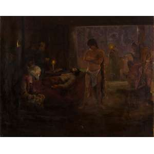 """Antônio Parreiras - Estudo para o Painel """"Alegoria da Morte de Estácio de Sá"""" - 90 x 115 cm - Óleo sobre Tela - Não Assinado"""