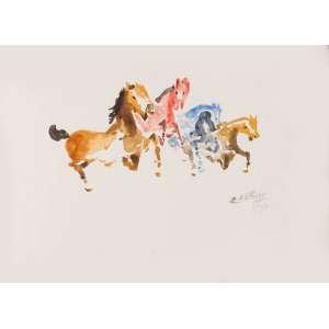 Edésio Esteves - Cavalos – 32 x 44 cm – Aquarela – Ass. CID